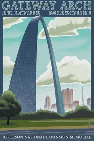St. Louis, Missouri - Gateway Arch Lithography Style by Lantern Press