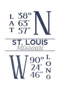 St. Louis, Missouri - Latitude and Longitude (Blue) by Lantern Press