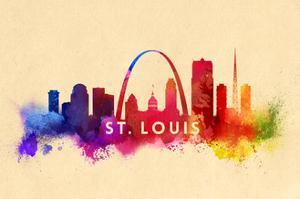 St. Louis, Missouri - Skyline Abstract by Lantern Press