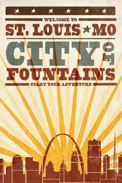 St. Louis, Missouri - Skyline and Sunburst Screenprint Style by Lantern Press