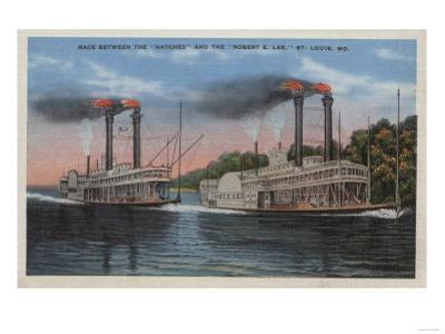 St. Louis, MO - View of Natchez & Robert E. Lee by Lantern Press