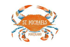 St. Michaels, Maryland - Blue Crab - Blue and Orange Watercolor (#2) by Lantern Press