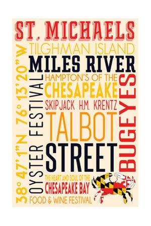 St. Michaels, Maryland - Typography with Crab Icon by Lantern Press