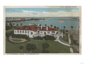 St. Petersburg, FL - Aerial of Yacht Club & Harbor by Lantern Press