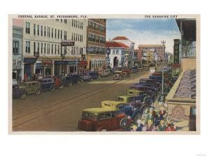St. Petersburg, FL - View of Central Ave with Cars by Lantern Press