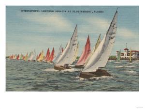 St. Petersburg, FL - View of Lightning Regatta Race by Lantern Press