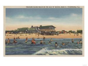 St. Petersburg, FL - View of Treasure Island Beach by Lantern Press