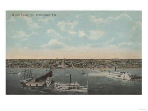 St. Petersburg, FL - Waterfront View with Yachts by Lantern Press
