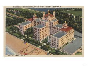 St. Petersburg, Florida - Aerial of Don Ce-Sar Hotel by Lantern Press