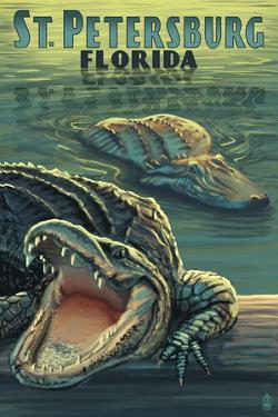 St Petersburg, Florida - Alligators by Lantern Press