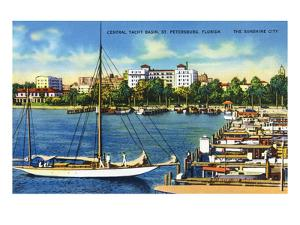 St. Petersburg, Florida - Central Yacht Basin Scene by Lantern Press