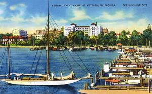 St. Petersburg, Florida - Central Yacht Basin Scene by Lantern Press