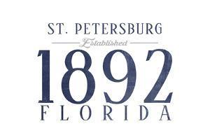 St. Petersburg, Florida - Established Date (Blue) by Lantern Press