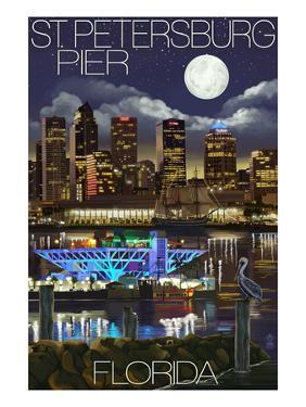 St. Petersburg, Florida - Night Skyline and Pier by Lantern Press