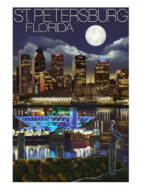 St. Petersburg, Florida - Night Skyline by Lantern Press