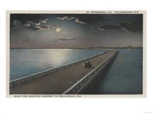 St. Petersburg, Florida - Night View of Causeway by Lantern Press