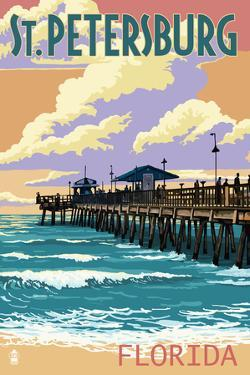 St Petersburg, Florida - Pier and Sunset by Lantern Press