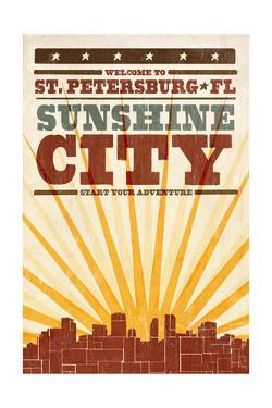 St. Petersburg, Florida - Skyline and Sunburst Screenprint Style by Lantern Press