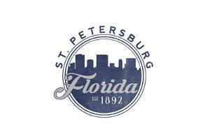 St. Petersburg, Florida - Skyline Seal (Blue) by Lantern Press