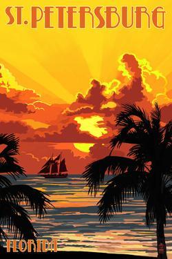 St. Petersburg, Florida - Sunset and Ship by Lantern Press