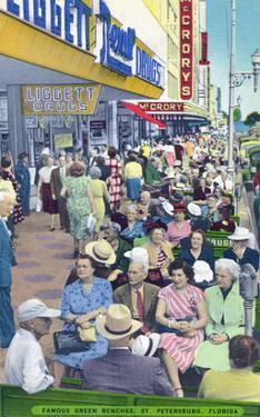 St. Petersburg, Florida - View of Crowds and Famous Green Benches by Lantern Press