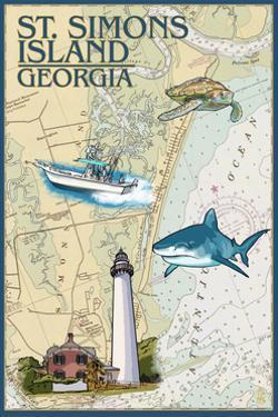 St. Simons Island, Georgia - Nautical Chart by Lantern Press