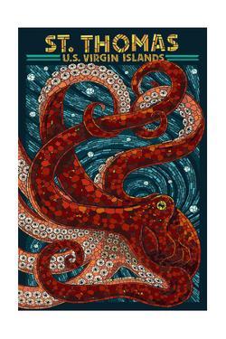 St. Thomas, U.S. Virgin Islands - Octopus Mosaic by Lantern Press
