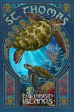St. Thomas, U.S. Virgin Islands - Sea Turtle Art Nouveau by Lantern Press