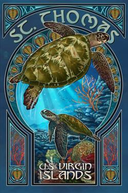 St. Thomas, U.S. Virgin Islands - Sea Turtle Art Nouveau by Lantern Press