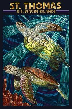 St. Thomas, U.S. Virgin Islands - Sea Turtle Mosaic by Lantern Press