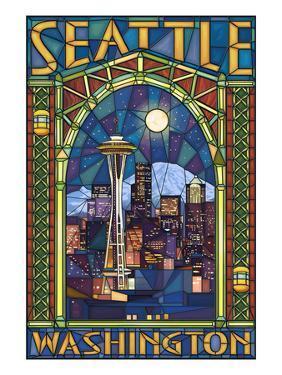 Stained Glass Window - Seattle, WA by Lantern Press