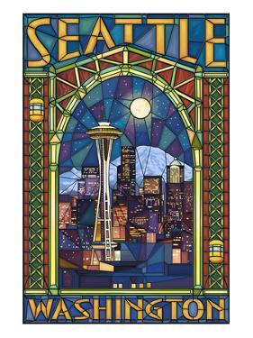 Stained Glass Window - Seattle, WA by Lantern Press