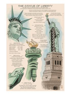 Statue of Liberty National Monument - New York City, NY - Technical by Lantern Press