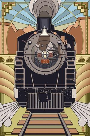 Steam Locomotive - Deco Style by Lantern Press