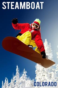 Steamboat, Colorado - Snowboarder by Lantern Press