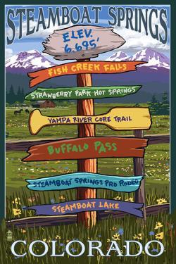 Steamboat Springs, Colorado - Destination Sign by Lantern Press