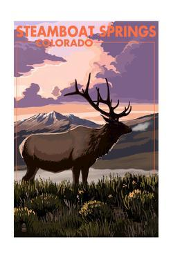 Steamboat Springs, Colorado - Elk and Sunset by Lantern Press