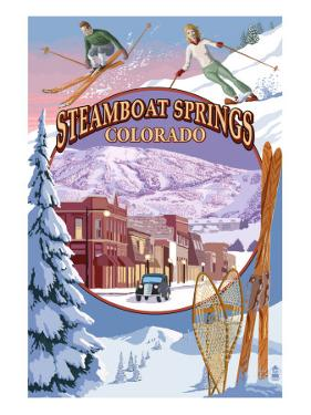 Steamboat Springs, Colorado Montage by Lantern Press