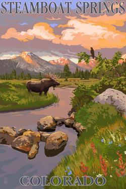 Steamboat Springs, Colorado - Moose and Meadow Scene by Lantern Press