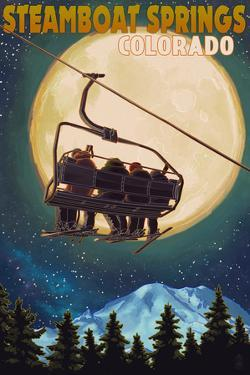 Steamboat Springs, Colorado - Ski Lift and Full Moon by Lantern Press