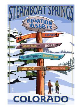 Steamboat Springs, Colorado - Ski Run Signpost by Lantern Press