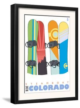 Steamboat Springs, Colorado, Snowboards in the Snow by Lantern Press