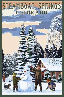Steamboat Springs, Colorado - Snowman Scene by Lantern Press