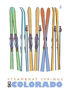 Steamboat Springs, Skis in Snow by Lantern Press