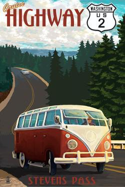 Stevens Pass, Washington - Cruise Highway 2 VW Van Scene by Lantern Press