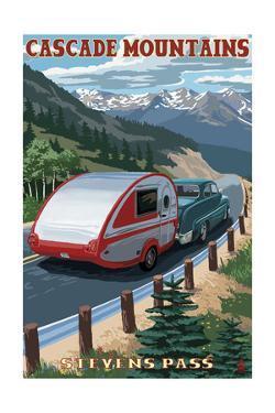 Stevens Pass, Washington - Retro Camper by Lantern Press