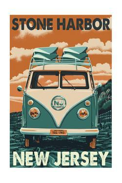 Stone Harbor, New Jersey - VW Van by Lantern Press