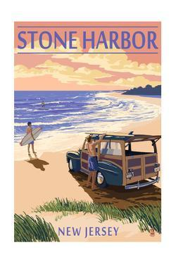 Stone Harbor, New Jersey - Woody on the Beach by Lantern Press