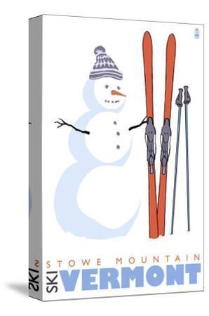 Stowe Mountain, Vermont, Snowman with Skis by Lantern Press