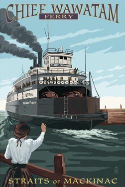 Straits of Mackinac, Michigan - Chief Wawatam Ferry by Lantern Press